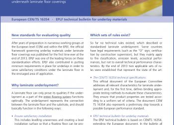 """elne1405_b4: Practical information in a condensed form: the new EPLF compact data sheet, """"That's how laminate finds the appropriate underlay"""", is available free of charge at www.eplf.com. – Photo: EPLF"""